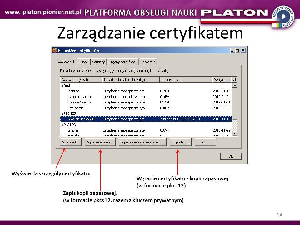Zarządzanie certyfikatem