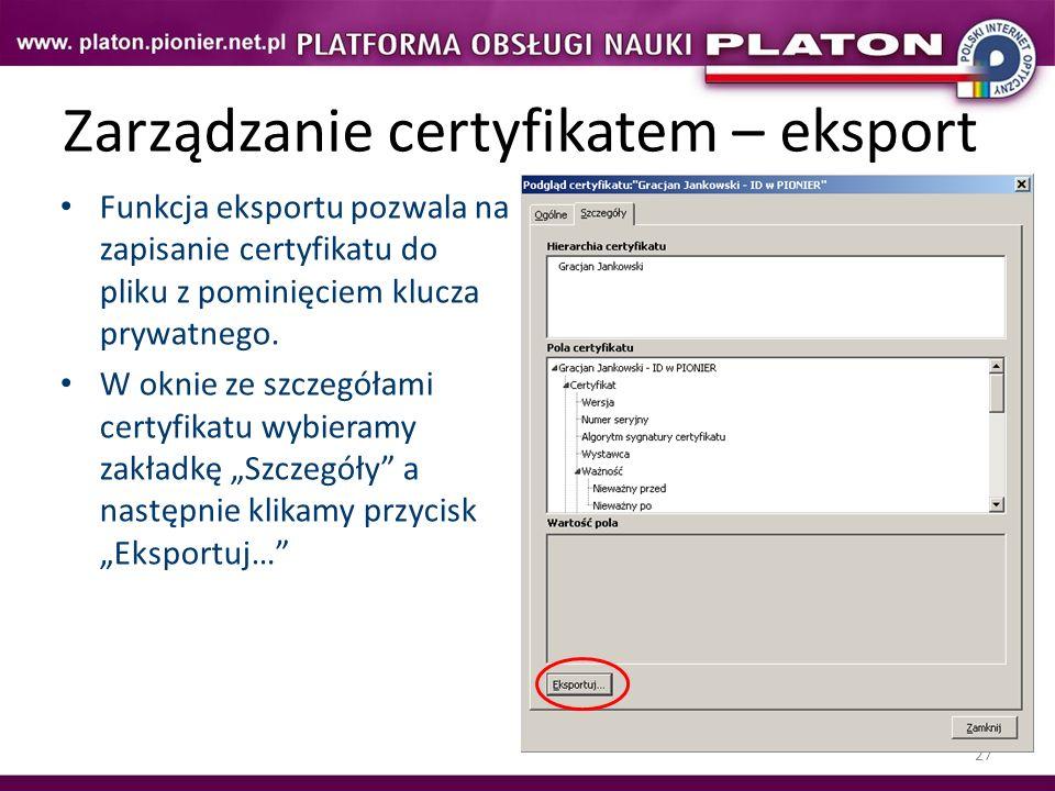 Zarządzanie certyfikatem – eksport