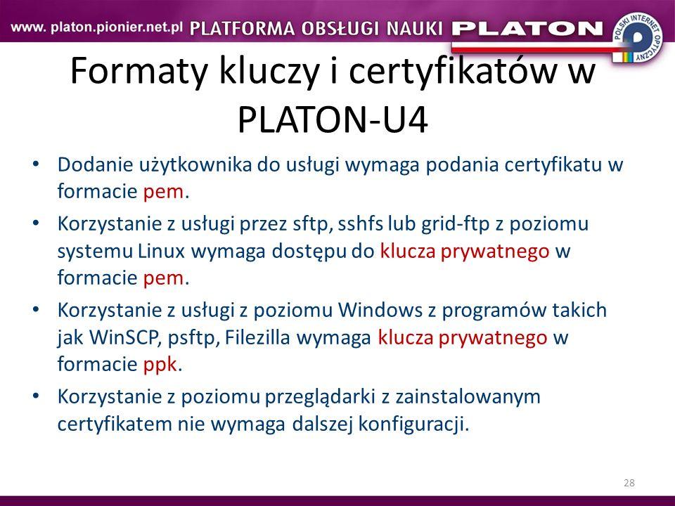 Formaty kluczy i certyfikatów w PLATON-U4
