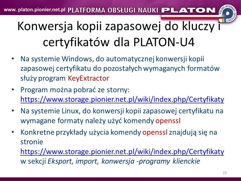 Konwersja kopii zapasowej do kluczy i certyfikatów dla PLATON-U4