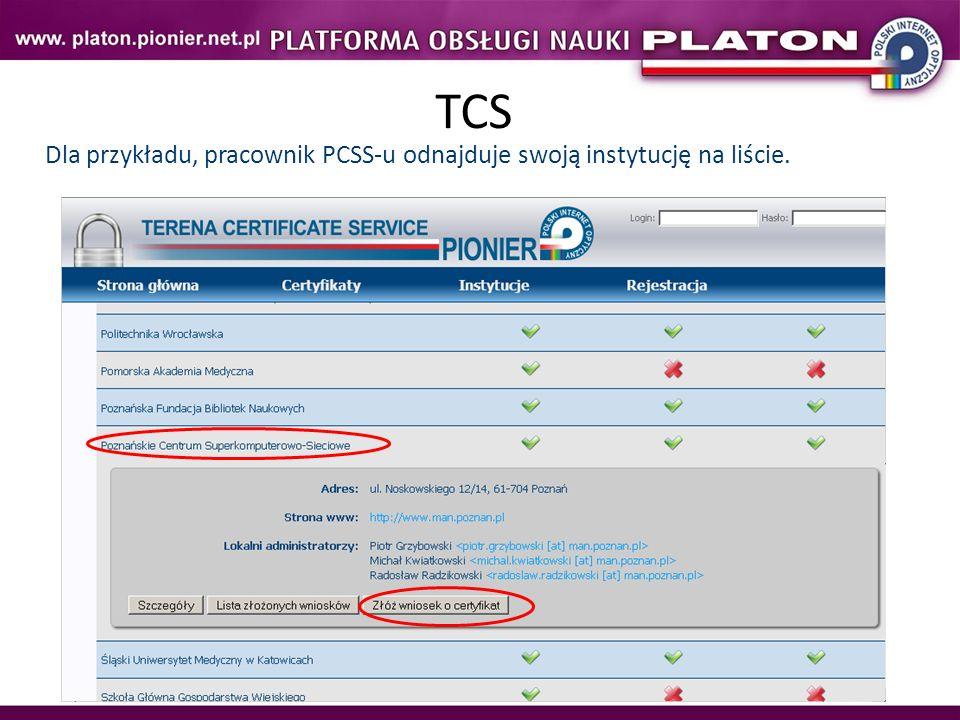 TCS Dla przykładu, pracownik PCSS-u odnajduje swoją instytucję na liście.
