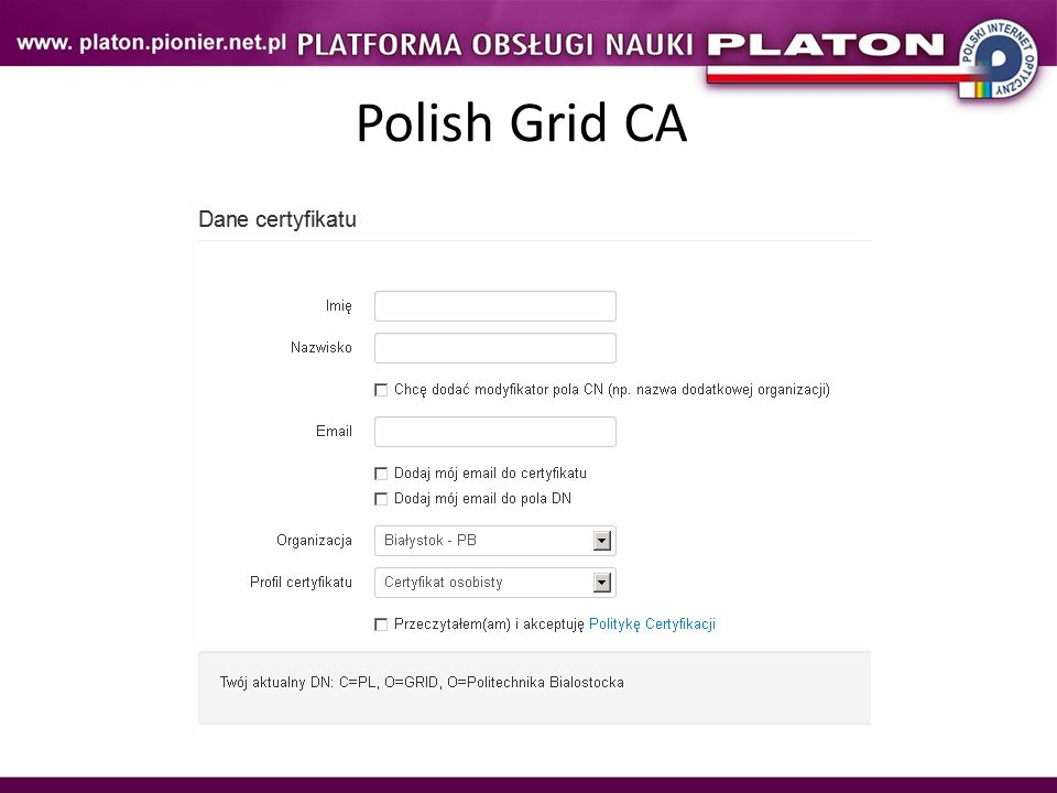Polish Grid CA