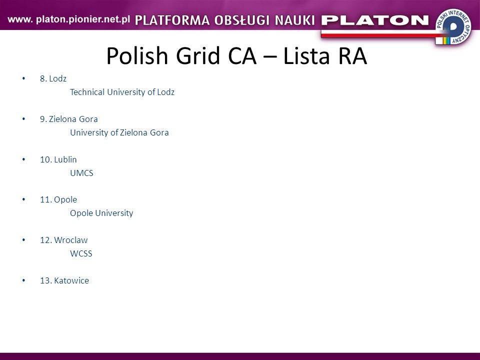 Polish Grid CA – Lista RA