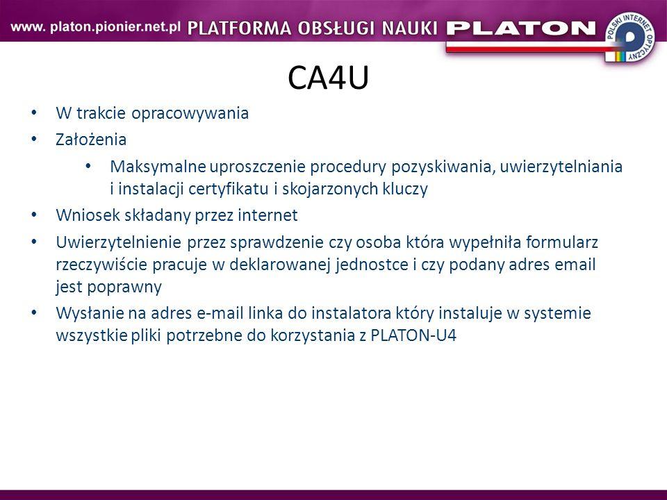 CA4U W trakcie opracowywania Założenia
