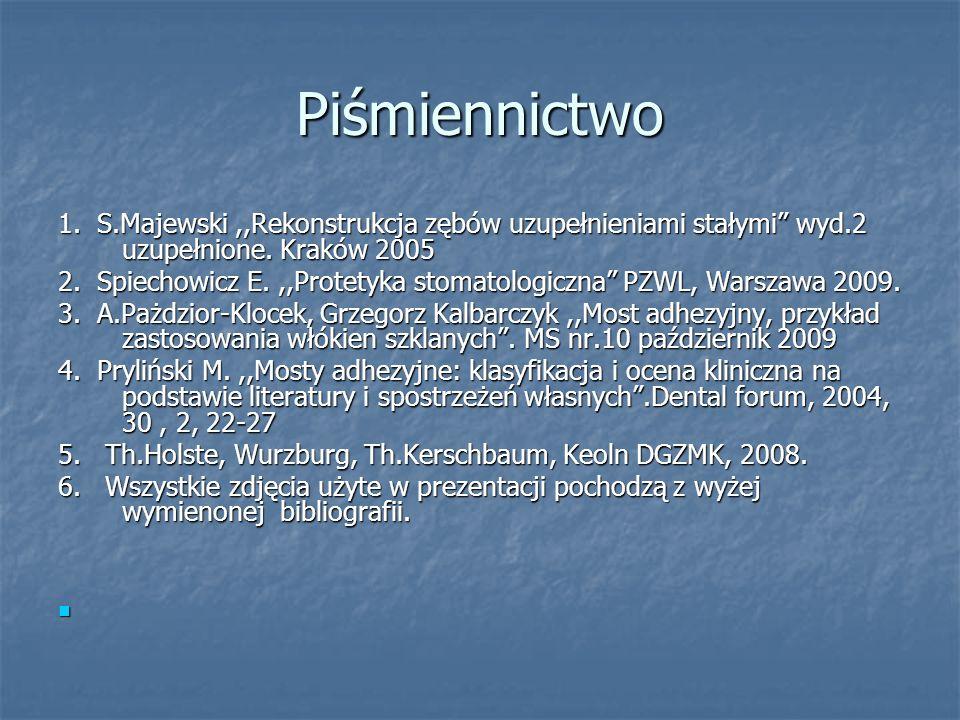 Piśmiennictwo 1. S.Majewski ,,Rekonstrukcja zębów uzupełnieniami stałymi wyd.2 uzupełnione. Kraków 2005.