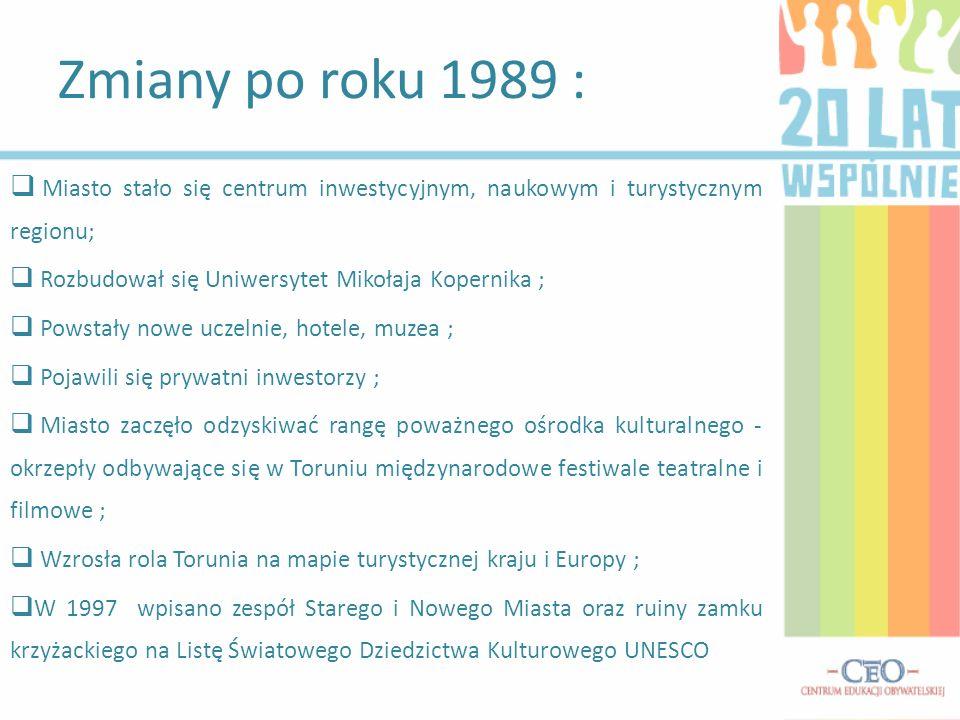 Zmiany po roku 1989 :Miasto stało się centrum inwestycyjnym, naukowym i turystycznym regionu; Rozbudował się Uniwersytet Mikołaja Kopernika ;