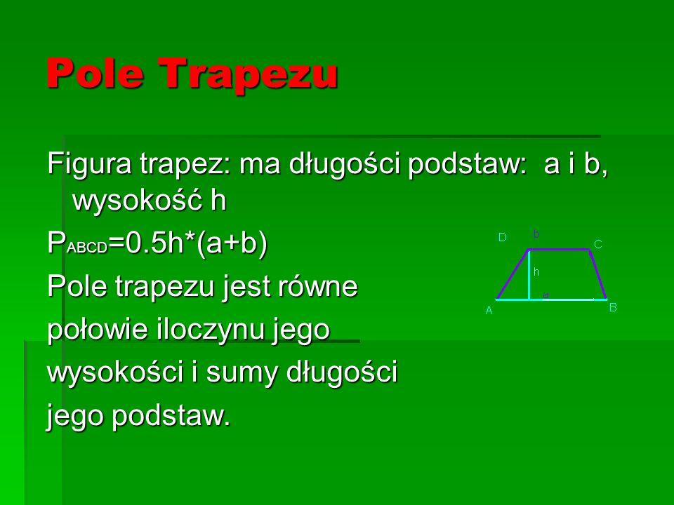 Pole Trapezu Figura trapez: ma długości podstaw: a i b, wysokość h