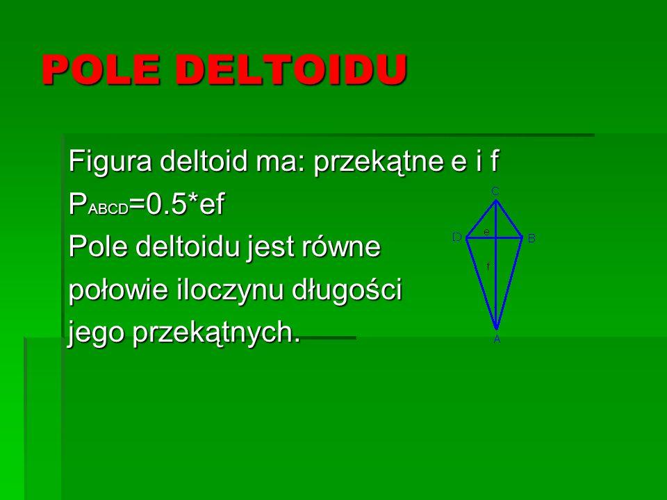 POLE DELTOIDU Figura deltoid ma: przekątne e i f PABCD=0.5*ef