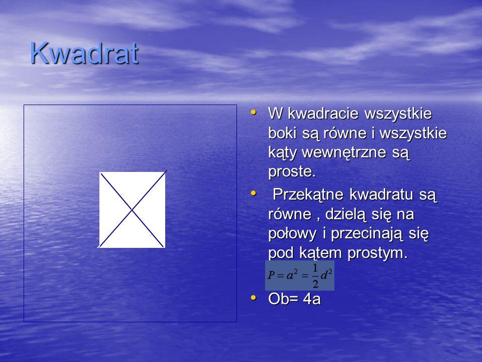 Kwadrat W kwadracie wszystkie boki są równe i wszystkie kąty wewnętrzne są proste.