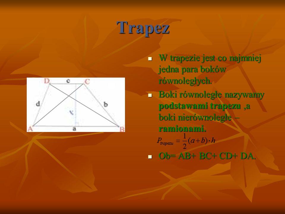 Trapez W trapezie jest co najmniej jedna para boków równoległych.