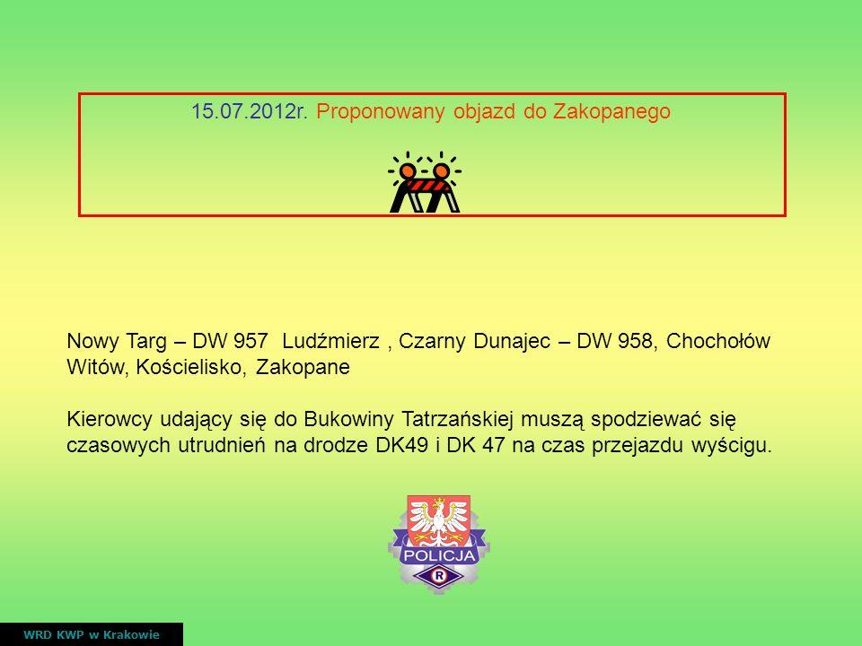 15.07.2012r. Proponowany objazd do Zakopanego