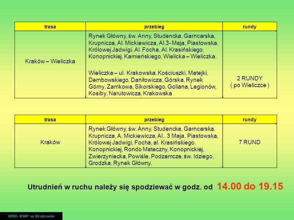 Utrudnień w ruchu należy się spodziewać w godz. od 14.00 do 19.15
