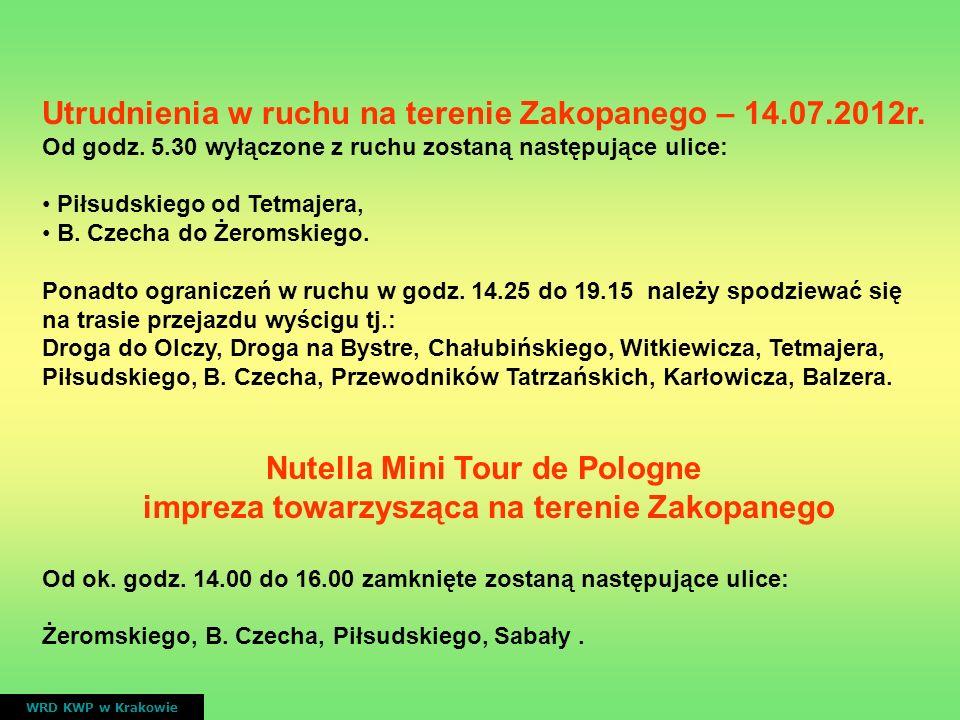 Utrudnienia w ruchu na terenie Zakopanego – 14.07.2012r.