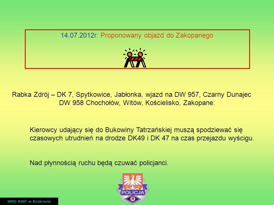 14.07.2012r. Proponowany objazd do Zakopanego