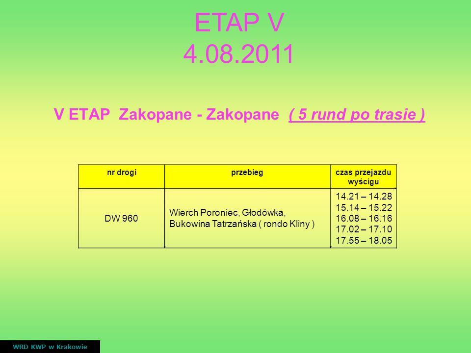 V ETAP Zakopane - Zakopane ( 5 rund po trasie ) czas przejazdu wyścigu