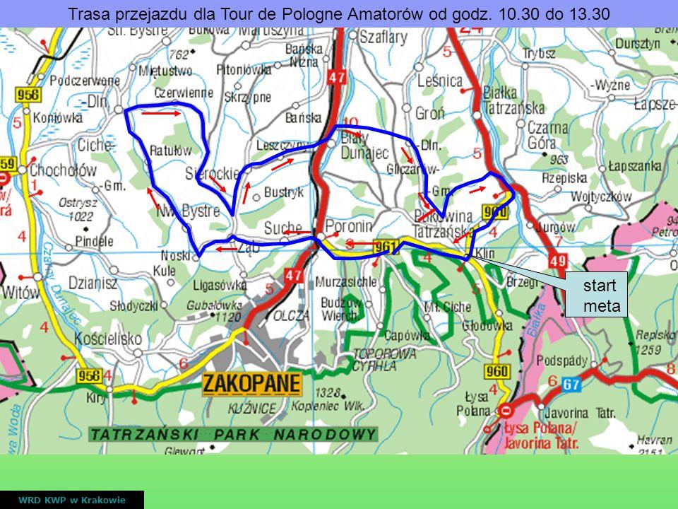 Trasa przejazdu dla Tour de Pologne Amatorów od godz. 10.30 do 13.30