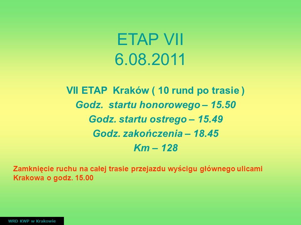VII ETAP Kraków ( 10 rund po trasie ) Godz. startu honorowego – 15.50