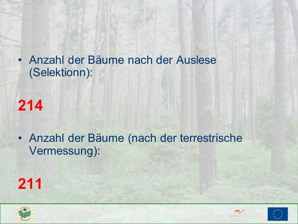 214 211 Anzahl der Bäume nach der Auslese (Selektionn):