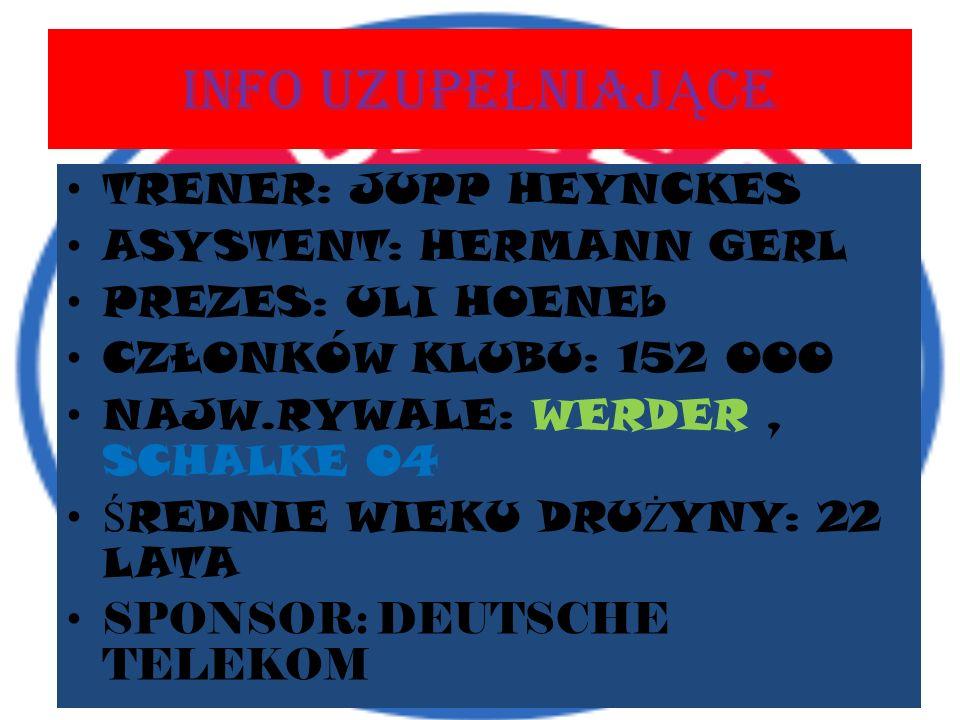 INFO UZUPEŁNIAJĄCE TRENER: JUPP HEYNCKES ASYSTENT: HERMANN GERL