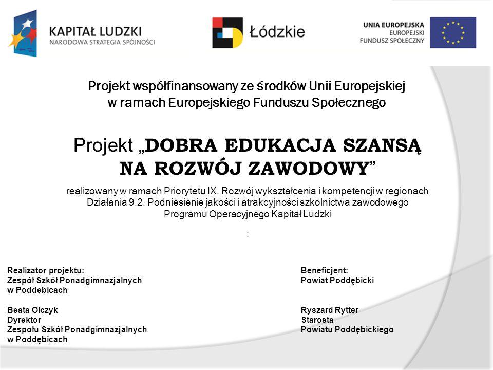 """Projekt """"DOBRA EDUKACJA SZANSĄ NA ROZWÓJ ZAWODOWY"""