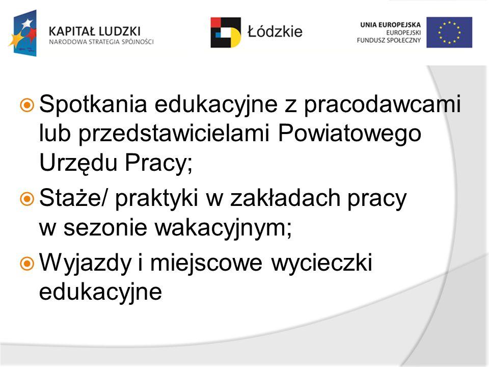 Spotkania edukacyjne z pracodawcami lub przedstawicielami Powiatowego Urzędu Pracy;