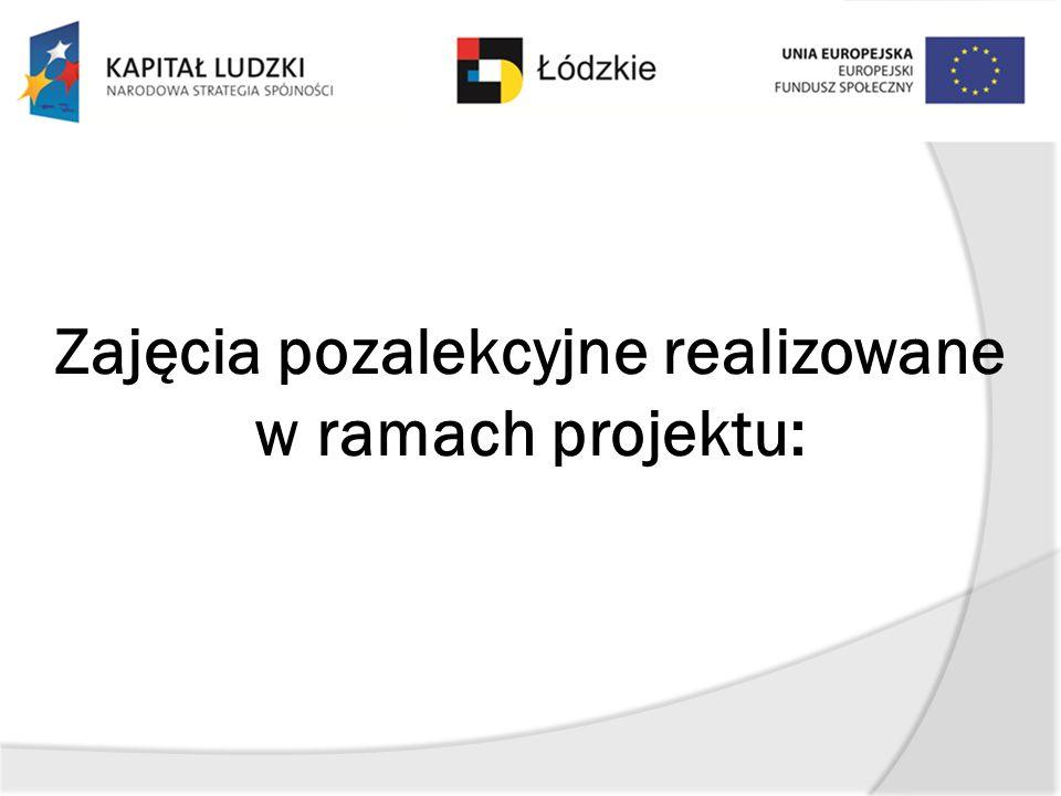 Zajęcia pozalekcyjne realizowane w ramach projektu: