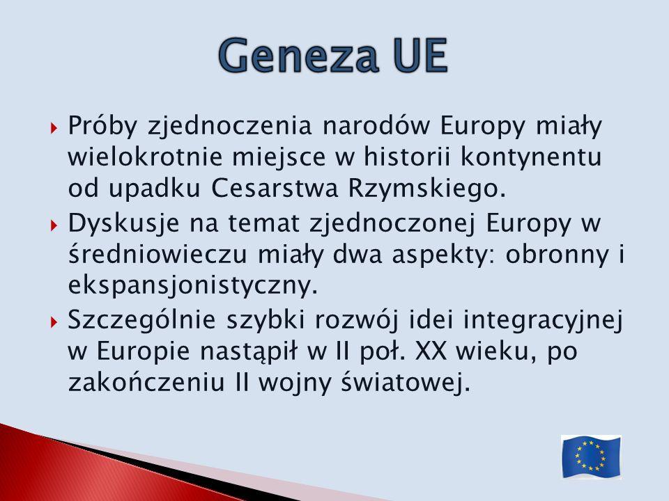 Geneza UE Próby zjednoczenia narodów Europy miały wielokrotnie miejsce w historii kontynentu od upadku Cesarstwa Rzymskiego.