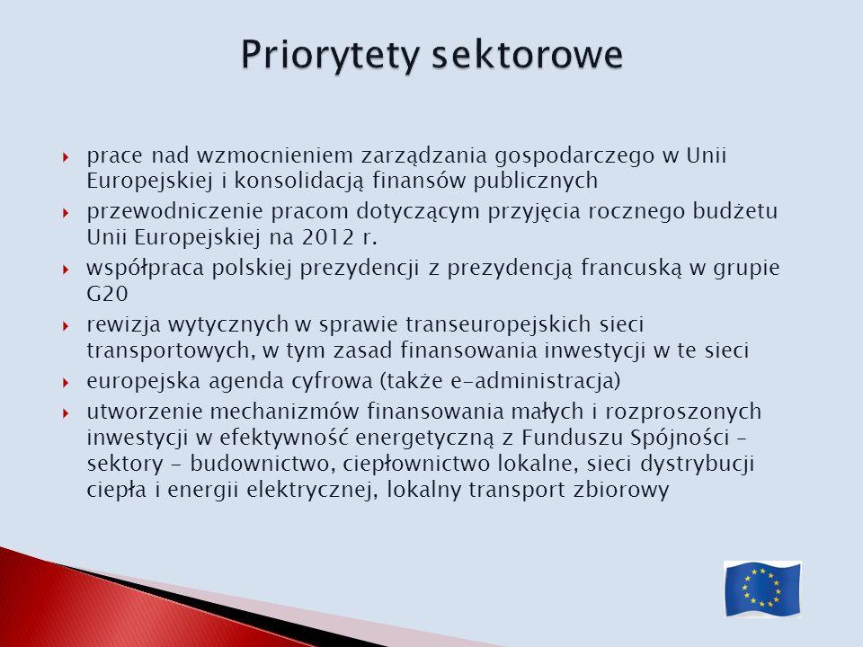 Priorytety sektorowe prace nad wzmocnieniem zarządzania gospodarczego w Unii Europejskiej i konsolidacją finansów publicznych.
