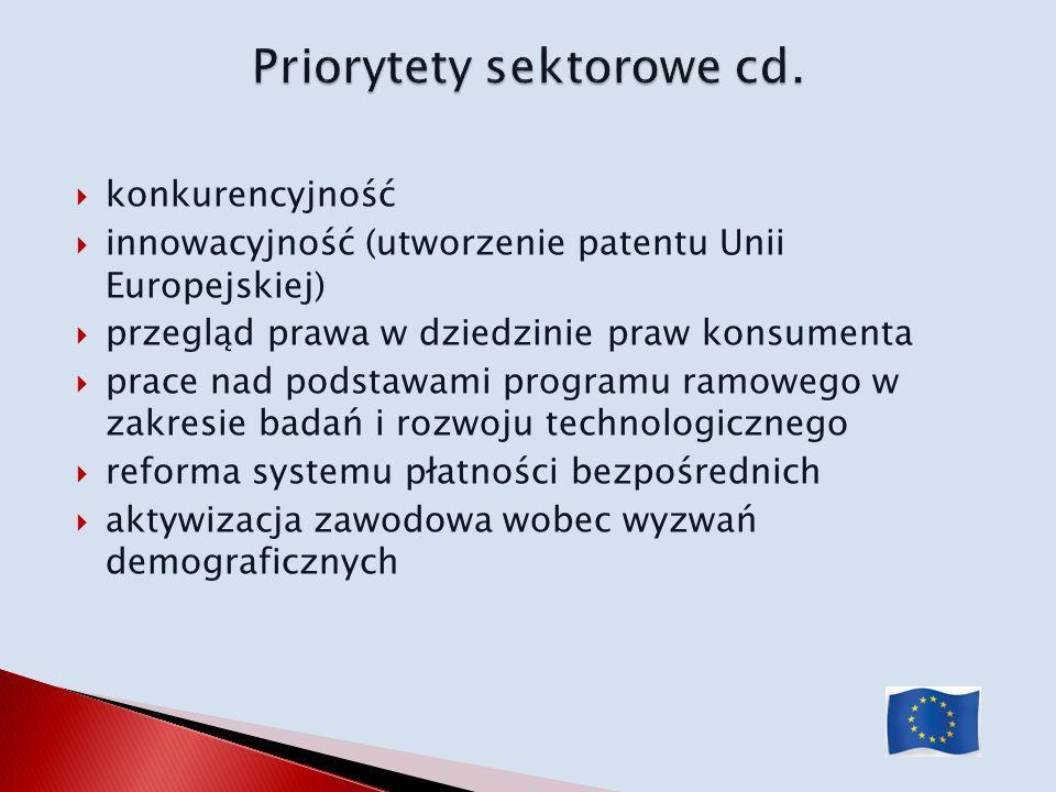 Priorytety sektorowe cd.