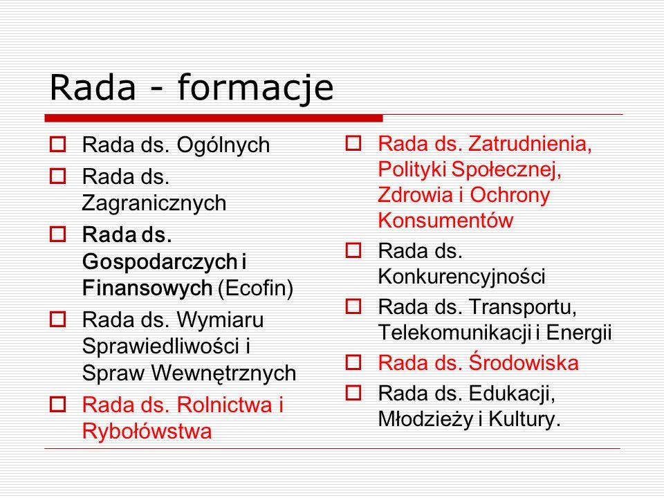 Rada - formacje Rada ds. Ogólnych Rada ds. Zagranicznych