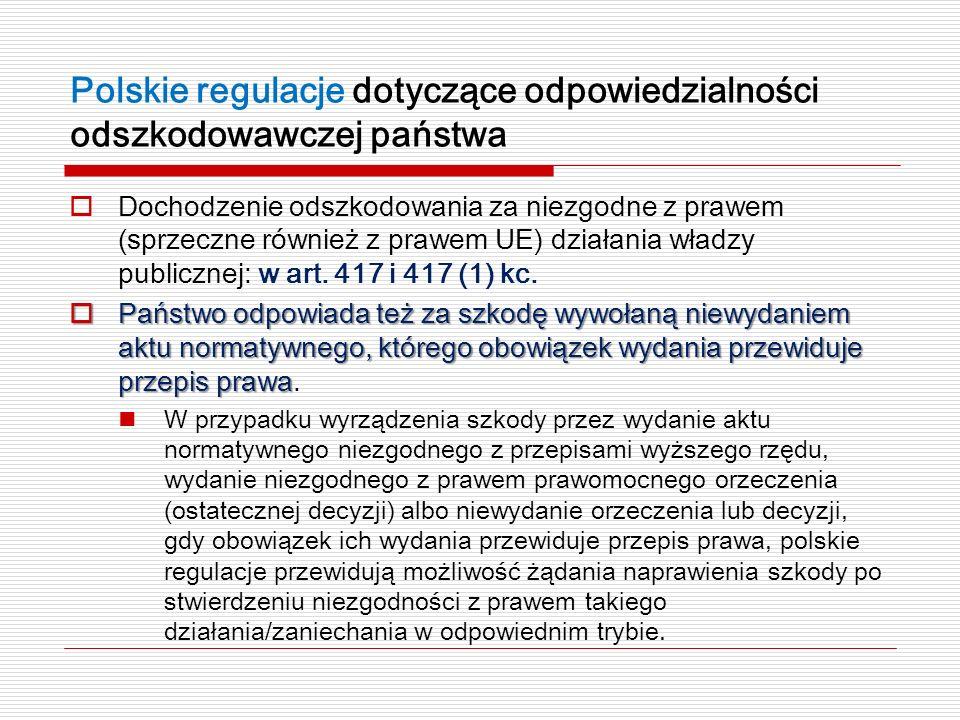 Polskie regulacje dotyczące odpowiedzialności odszkodowawczej państwa