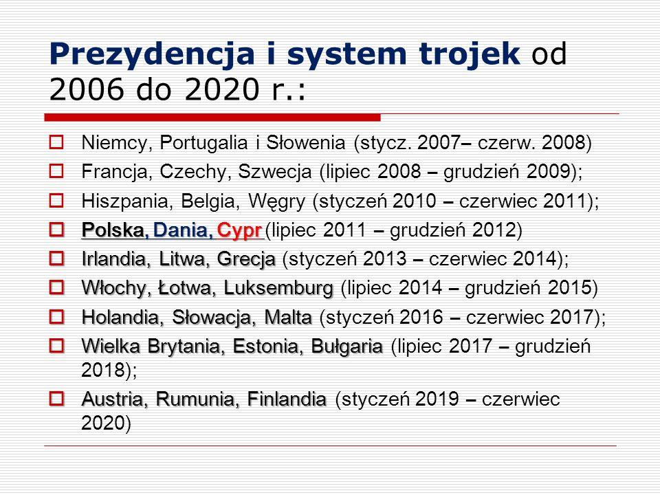Prezydencja i system trojek od 2006 do 2020 r.: