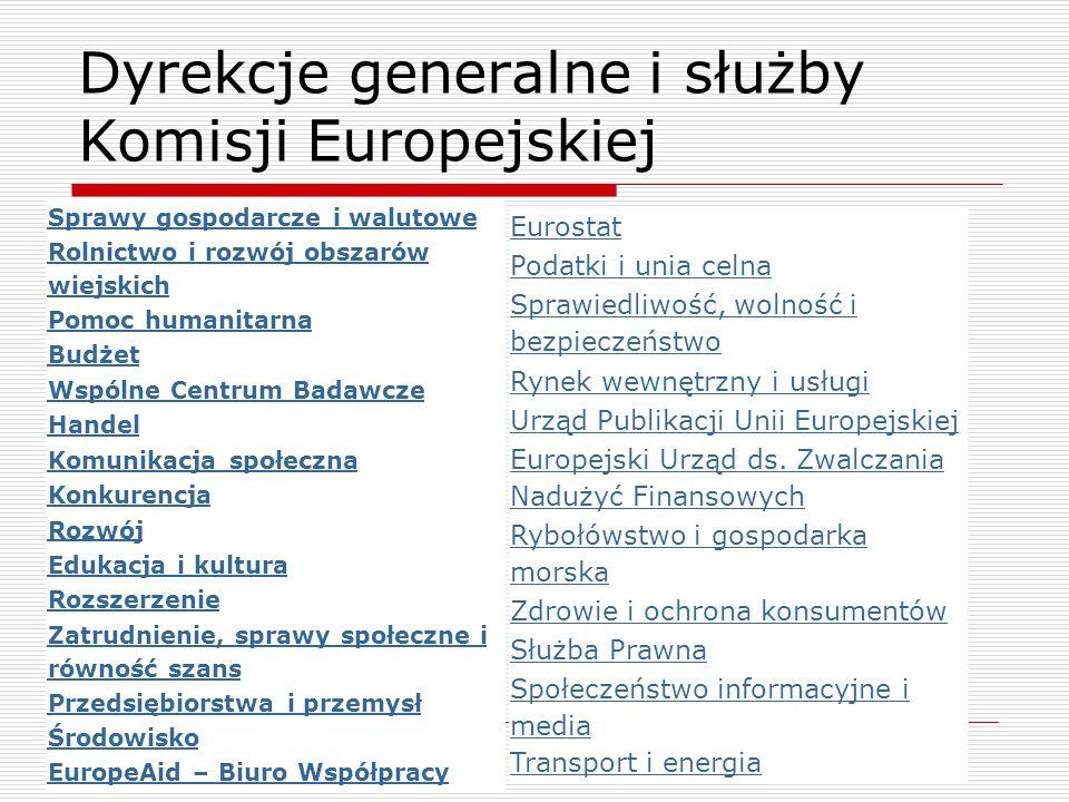 Dyrekcje generalne i służby Komisji Europejskiej