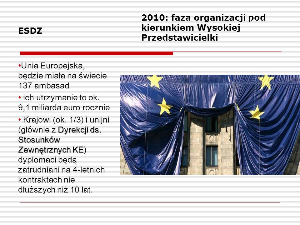 ESDZ 2010: faza organizacji pod kierunkiem Wysokiej Przedstawicielki. Unia Europejska, będzie miała na świecie 137 ambasad.