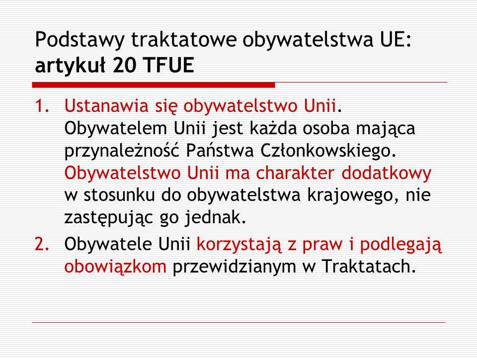 Podstawy traktatowe obywatelstwa UE: artykuł 20 TFUE