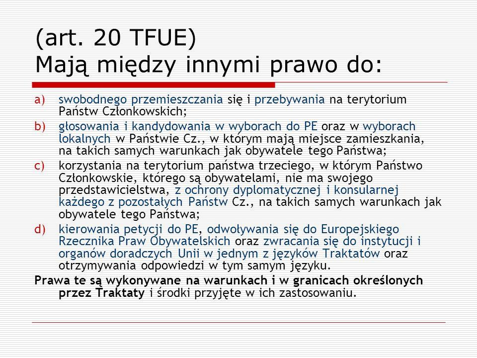 (art. 20 TFUE) Mają między innymi prawo do: