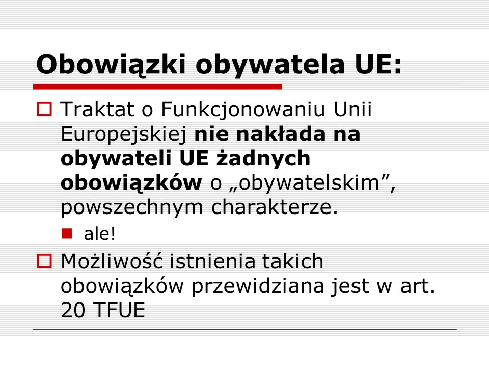 Obowiązki obywatela UE:
