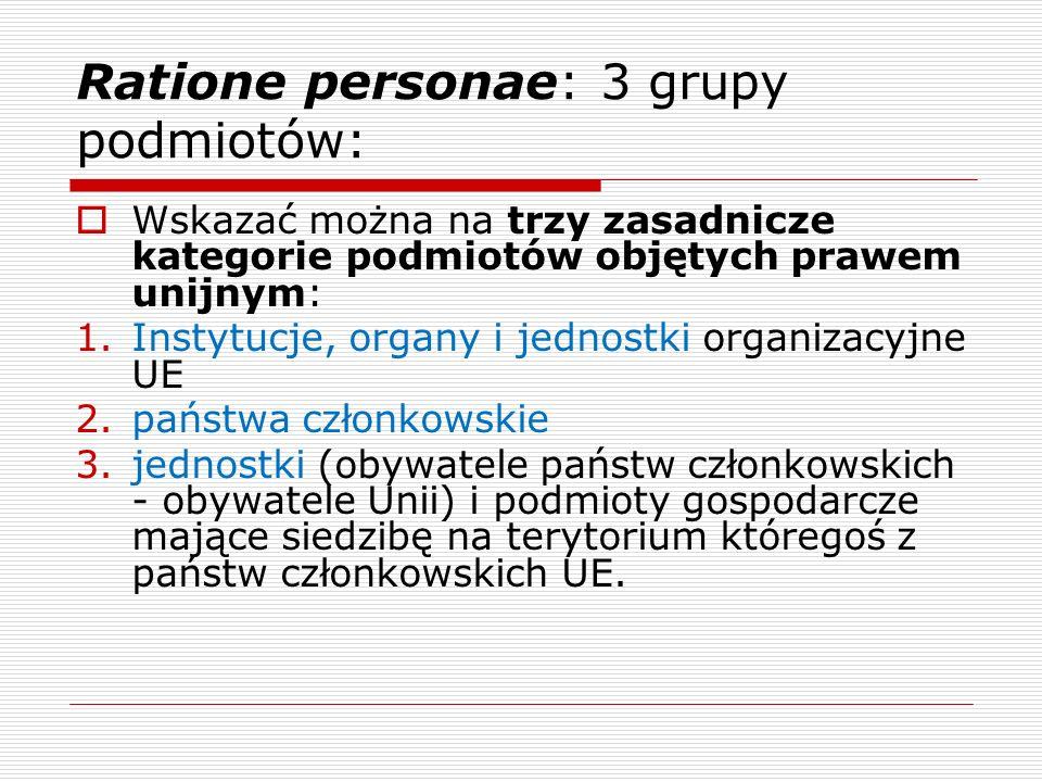 Ratione personae: 3 grupy podmiotów: