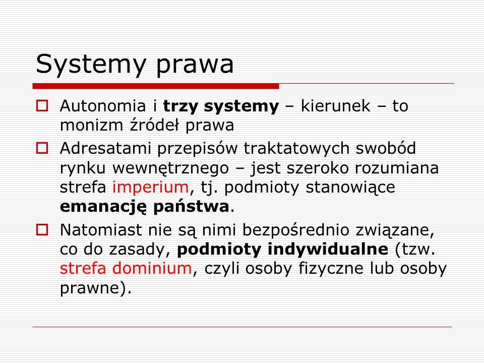 Systemy prawa Autonomia i trzy systemy – kierunek – to monizm źródeł prawa.