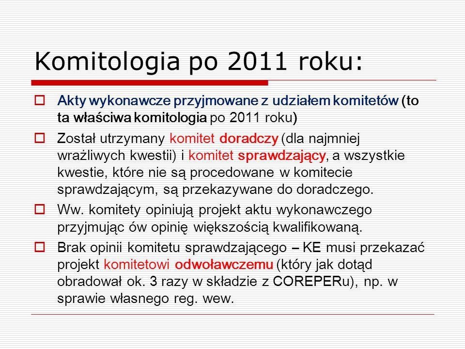 Komitologia po 2011 roku:Akty wykonawcze przyjmowane z udziałem komitetów (to ta właściwa komitologia po 2011 roku)