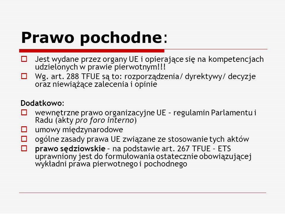 Prawo pochodne: Jest wydane przez organy UE i opierające się na kompetencjach udzielonych w prawie pierwotnym!!!