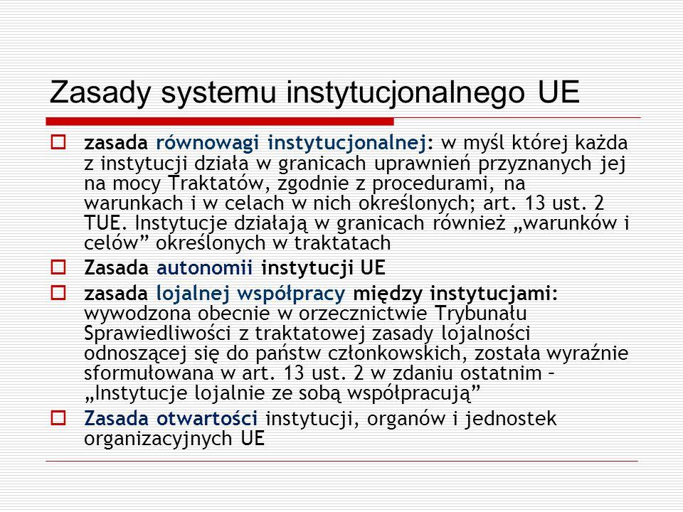 Zasady systemu instytucjonalnego UE