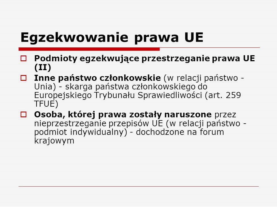 Egzekwowanie prawa UE Podmioty egzekwujące przestrzeganie prawa UE (II)