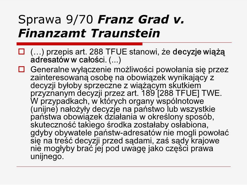 Sprawa 9/70 Franz Grad v. Finanzamt Traunstein