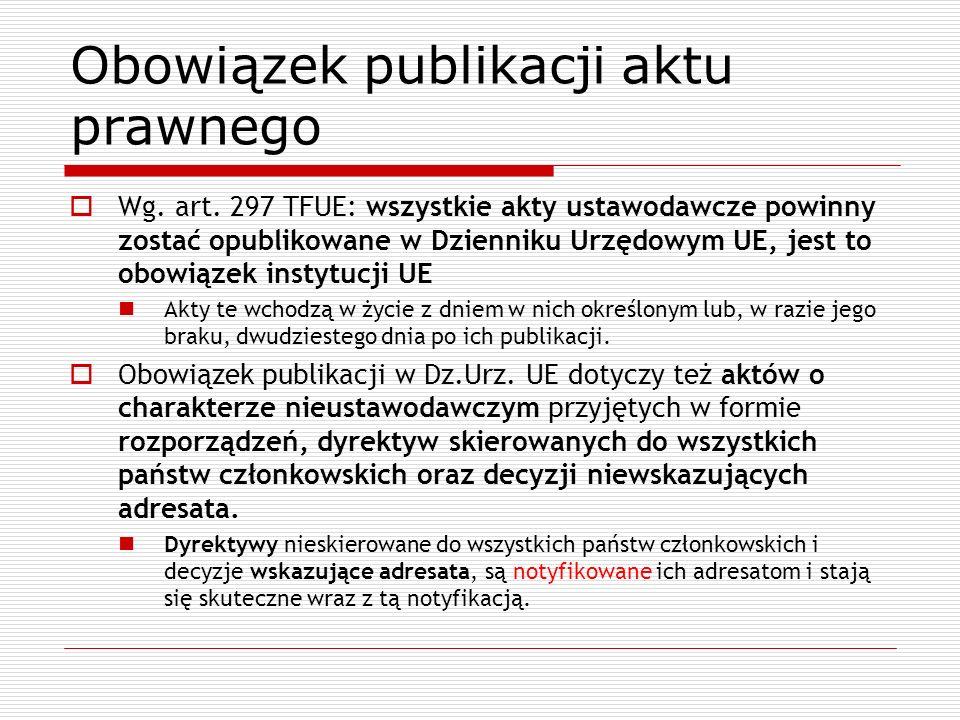 Obowiązek publikacji aktu prawnego