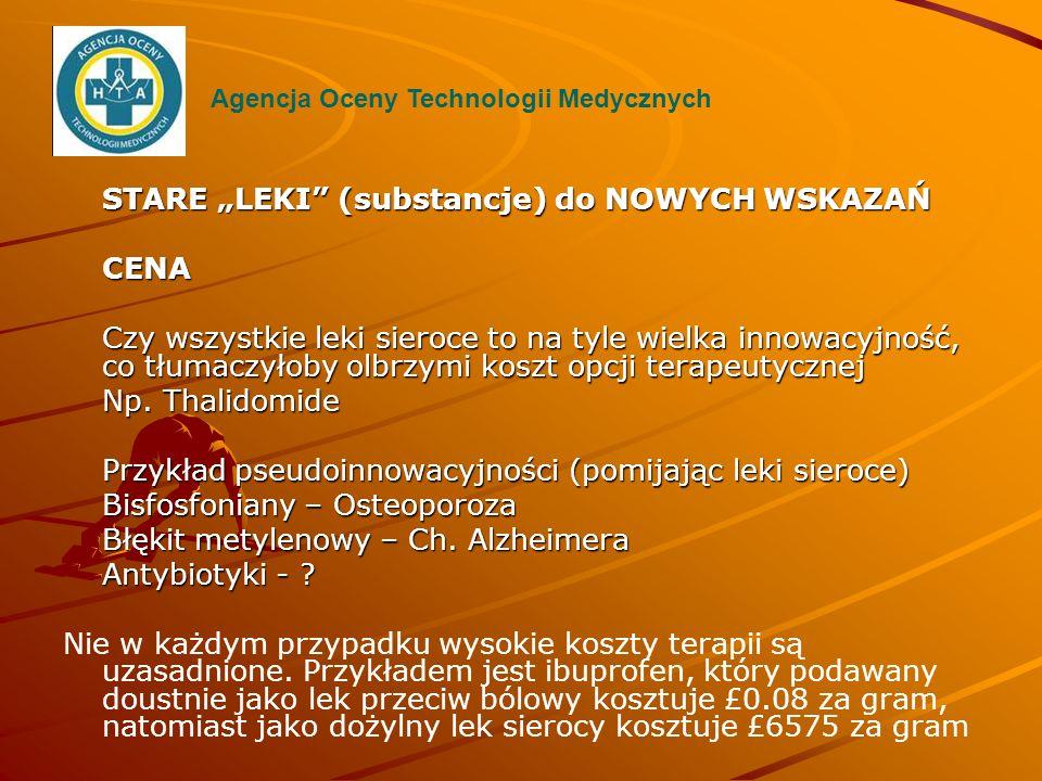 """STARE """"LEKI (substancje) do NOWYCH WSKAZAŃ CENA"""