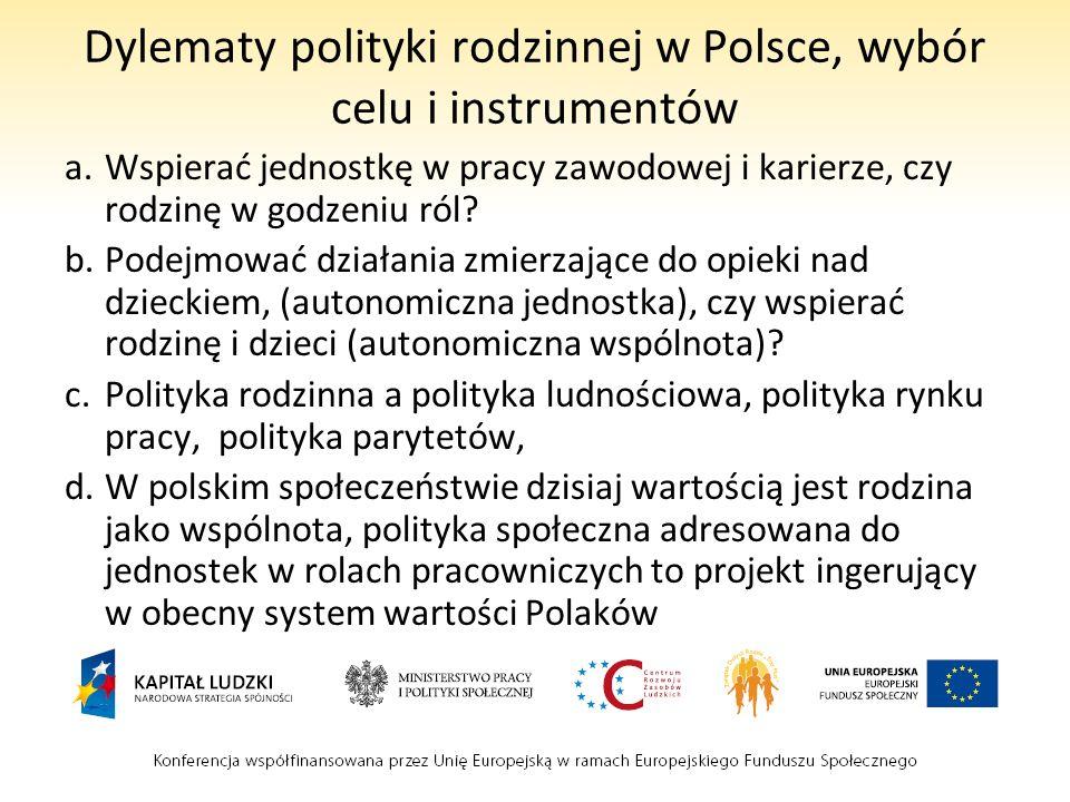Dylematy polityki rodzinnej w Polsce, wybór celu i instrumentów