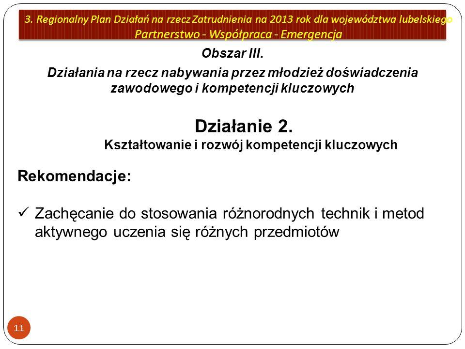Działanie 2. Kształtowanie i rozwój kompetencji kluczowych