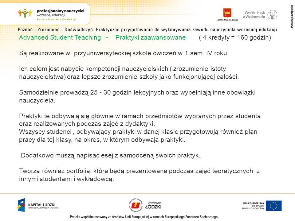 Advanced Student Teaching - Praktyki zaawansowane ( 4 kredyty = 160 godzin)