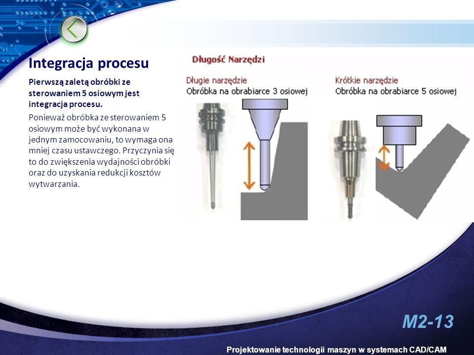 Integracja procesu Pierwszą zaletą obróbki ze sterowaniem 5 osiowym jest integracja procesu.